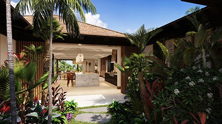 Tropical garden view of Kaulu custom home #62