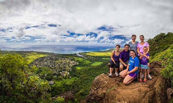 Family photo from the sleeping giant hike on kauai