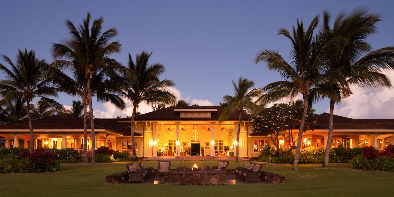 The Kukuiula Plantation House lawn at evening time