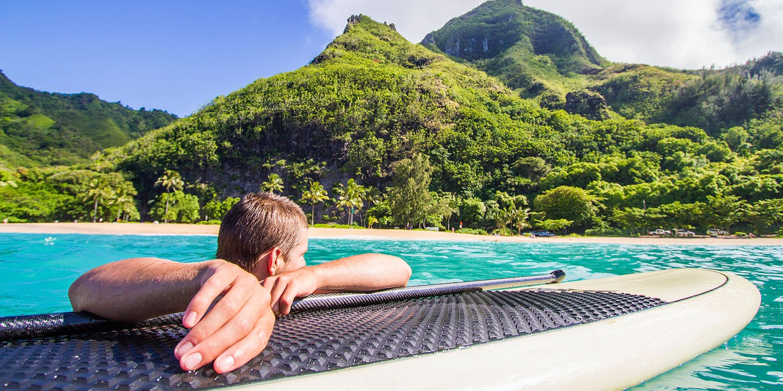 SUP paddler on Kauai