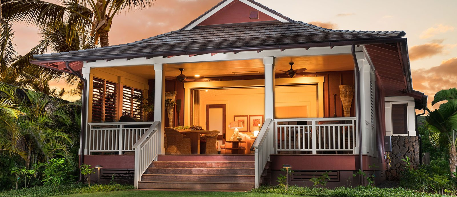 Sunset shot of the 2 bedroom bungalow at Kukuiula